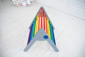 All parts of Pikler Foldable Wooden Climbing Triangle Ladder are hand-sanded with great care. It is absolutely safe for children. And you can not worry about their health because we already took care of everything.